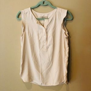 Loft Cream Sleeveless Button Top Blouse